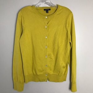 NEW Lands End Cardigan Sweater Top Mustard Small